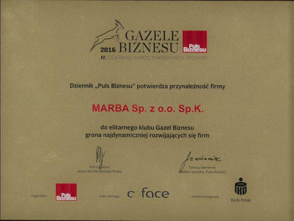 Gazele Biznesu 2016 Certificate