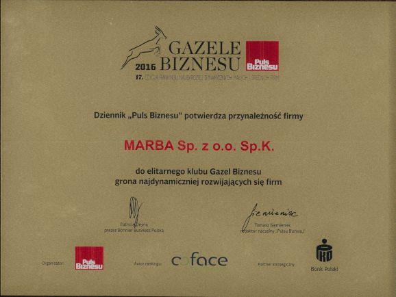 Certyfikat Gazele Biznesu 2016